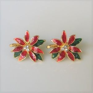 Vintage Poinsettia Stud Earrings